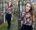 Sheer Chiffon Floral Printed Casual Women Button Down Shirt Top Blouse S M L New