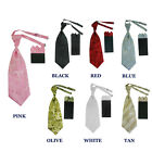 New Classic  2 pc Clip-on Poly Woven Tie + Matching Handkerchief Set