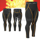 Mens Compression HOTGEAR Long Pants Black/Orange Stripe P23B/O S ~ 2XL