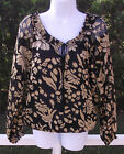 BIOGRAPHIE BLACK & TAUPE BURNT OUT FLORAL RAYON POLY PEASANT BLOUSE S M XL NEW