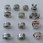 1 or 4 x Silver Tone Charm Bead To Fit European Style Snake Chain Charm Bracelet