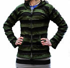 Pixie hooded Outstitched Stripe Ribs Zipped Jacket,Long Sleeves,Boho,Hippy,Cool