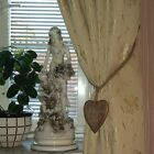 WOODEN HEART and JUTE ROPE CURTAIN TIE BACK RUSTIC CHIC VINTAGE