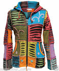 Patchwork Acid wash Women Pointy Hooded Slashed Layered Emo Goth Ladies Jacket