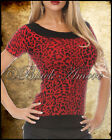 LEOPARD KNITTED TSHIRT TOP ROCKABILLY PSYCHOBILLY 50S GOTH PUNK TATTOO 3 COLOURS