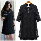 Pointed Collar 1/2 Sleeves Women Ladies Blouse Mini Short Dress Black S M L XL