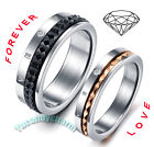 Made in Korea 2-tone FOREVER LOVE Engraved CZ Gem Lovers bands Couple Rings SET