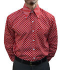CHENASKI RED & WHITE POLKA DOT SHIRT MOD RETRO SCOOTER 60'S SKA NORTHERN SOUL