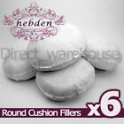 """Pack of 6 Round Hollowfibre Cushion Pads / Fillers / Inserts 16"""", 18"""", 20"""", 22"""""""