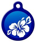 BLUE HIBISCUS - Custom Personalized Pet ID Tag for Dog and Cat Collars