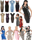 ROCKABILLY PENCIL WIGGLE DRESS VINTAGE PIN UP 50S CLASSY FITTED DRESSES 8-14 NEW