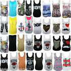 LADIES I LOVE MUSTACHE COCA PRINT CROSS GRAFFITI SLEEVELESS VEST TOP SIZE 8-16