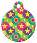 CIRCLES AND STARS - Custom Personalized Pet ID Tag for Dog and Cat Collars
