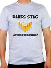 PERSONALISED STAG PARTY - Bowling / Ten Pin / Beer / Novelty Themed Mens T-Shirt