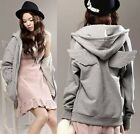 Korea Girl's Women's Angel Wings Fleece Hoodies Outwear Coat Jacket ~2 Colors~