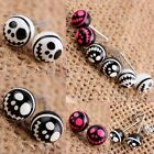Halloween Christmas Skulls UV Stainless Steel Round Ball Stud Earrings Black ...