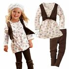 Girls Kid Fake Two Piece Set Top Dress+Legging Pants Outfit Baby Clothing SZ 2-6