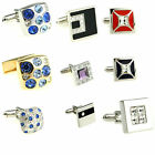 Exquisite Crystal Square Men's Wedding Cufflinks Shirt Suit Business Cuff Links