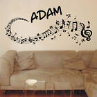 MUSIC SWIRLS personalised wall decal bedroom kids fun wall stickers