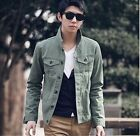 MC4 Mens cotton Jacket coat Jeans Cowboy Cloth stand collar Green Size M L XL