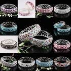 Stylish 11 Colors Crystal Rhinestone Silvery Woman's Cuff Bracelet Bangle Wrist