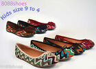 New Girl's Casual Cute Slip On Flat Heel Round Toe Shoes Size 9 - 4 Multi  Color