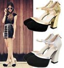 Ladies Genuine Leather Sequins Block High Heel Evening Party Court Shoes S317-1