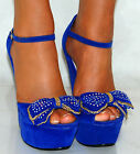 LADIES SUEDE BOW BRIGHT COBALT STRAPPY BLUE PLATFORM WEDGES HIGH HEELS SHOES 3-8