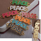 neon peace letter alphabet oil painting bracelet connector Charm Bead side ways