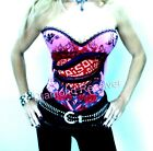 Sexy Womens Pink Tattoo Poison Corset Punk Rock Chick Glam Gothic Fetish S M L