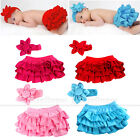 Girl Baby Clothing Ruffle Pants Bloomers Nappy Skirt+Headband Free Shipping0-24M