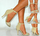 LADIES WOMEN ANKLE CUFF BEIGE CREAM STRAPPY DIAMANTE STILETTO HIGH HEELS SANDALS