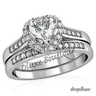 1.75 Ct Heart Shape CZ Wedding & Engagement Ring Set Women's Size 5,6,7,8,9,10