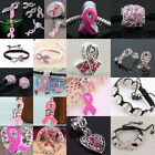 Crystal Austria Pink Ribbon Breast Cancer Awareness Charm Bead/Bracelet/Earrings
