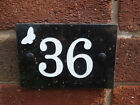 House Sign Black Granite 1-50 Signs White Aluminium Numbers Butterfly Quality
