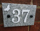 House Sign Granite Black & White 1-50 Signs White Aluminium Numbers Butterfly