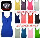 WOMENS PLUS SIZE PLAIN STRETCH CASUAL VEST LADIES GATHERED SLEEVELESS LONG TOP