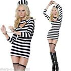 Ladies Sexy Convict Prisoner Cops & Robbers Fancy Dress Costume Outfit UK 8-18