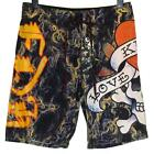 Bnwt Mens Ed Hardy Board Swim Surf Shorts Smoking Love New Black