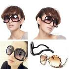 Newest Unique Oversize Square Frame Carved Lens Up Side Down Women Sunglasses