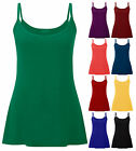 Ladies Plus Size Strappy Vest Womens Sleeveless Plain Jersey Top Size 8-22
