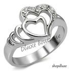 Women's Girls Stainless Steel Forever Double Heart AAA CZ Promise Ring Size 5-10
