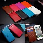 Genuine Cow Leather Flip Cover Wallet Pouch Protect Case For Apple iPhone 5 5G