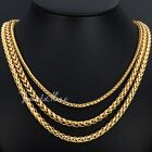 3mm/4mm/5mm Mens Womens Chain Wheat Chain Necklace Gold Filled GF Loster Clasp