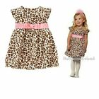 NWT Baby Girls Leopard Party Dresses Clothes One Piece Outfit  size 0.1.2