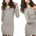 Fashion Women's Slim Crew Neck Long Section Wool Knit Shirt Long Sleeve Sweater