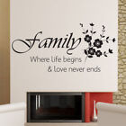 FAMILY LIFE BEGINS wall stickers bedroom living room sticker art family quote