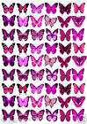 54 x Beautiful PINK BUTTERFLIES Mixed Edible Cup Cake Toppers WEDDING / BIRTHDAY
