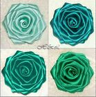 Large Handmade ROSE Berisford Satin Bridal Dress Corsage Flower TEAL GREEN BLUE