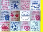 Personalised baby embroidered blankets, lots of designs, brand new, pink blue white